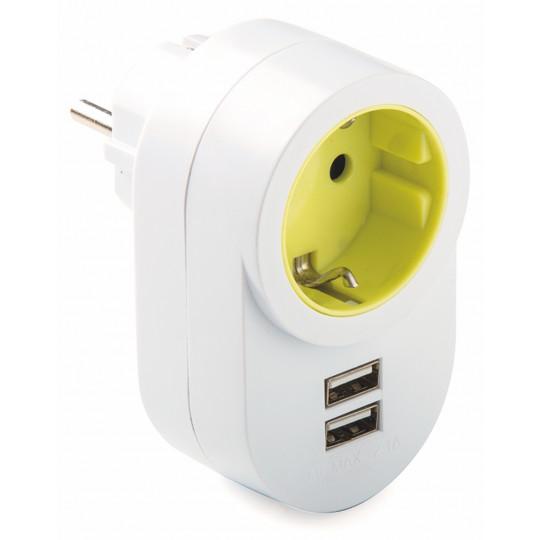 ADAPTADOR ENCHUFE CON 2 USB TT 16A 250V