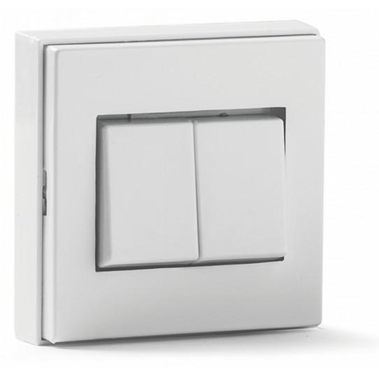 Conmutador doble de superficie blanco