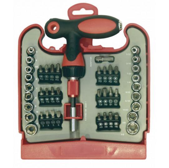 Kit atornillador mango T 45 piezas